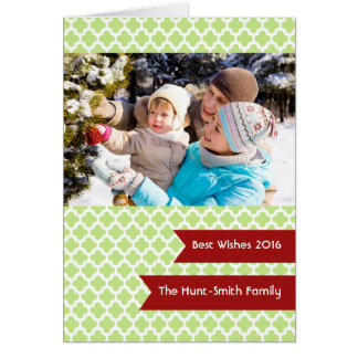 Green Quatrefoil Photo Folded Holiday Greeting Card