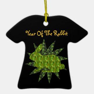 Green Rabbit Double-Sided T-Shirt Ceramic Christmas Ornament
