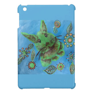 green rabbit on blue i-pad mini case iPad mini case