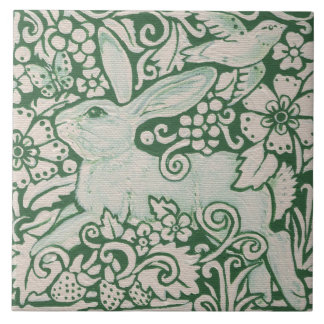 "Green Rabbit Running Painting on 6"" Tile Trivet"