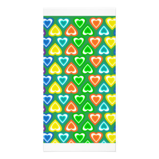Green rainbow hearts pattern personalized photo card