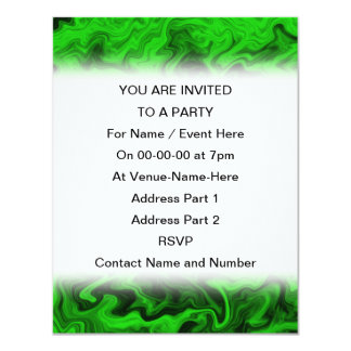 Green Random Abstract. 11 Cm X 14 Cm Invitation Card