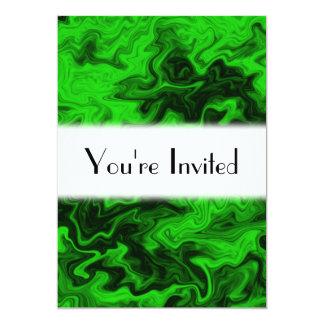 Green Random Abstract. 13 Cm X 18 Cm Invitation Card