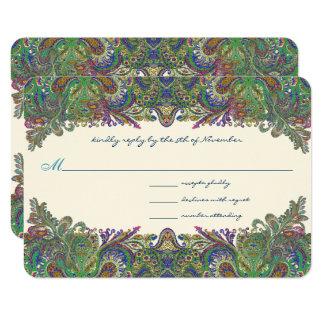 Green Raspberry Blue  Damask Wedding Invitation