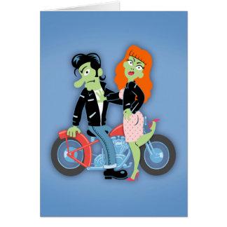 Green Rebel Bikers Greeting Card
