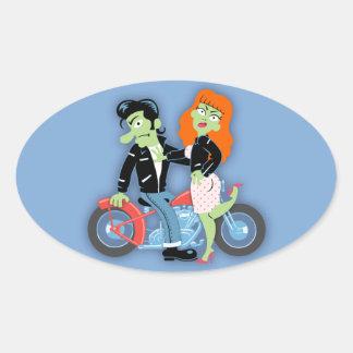 Green Rebel Bikers Oval Sticker