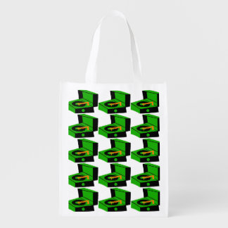 Green Record Player Houndstooth Grocery Bag