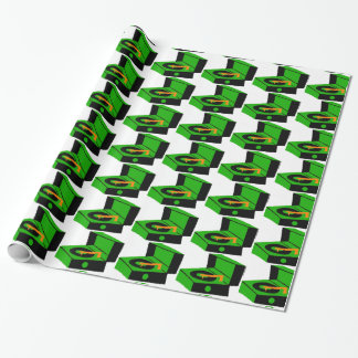 Green Record Player Houndstooth Wrapping Paper