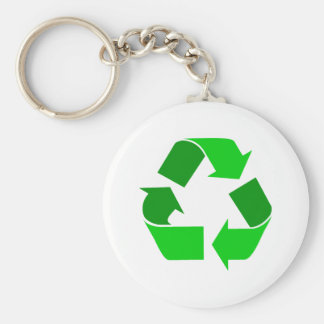 green recycle basic round button key ring