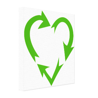 Green Recycle Heart Canvas Print