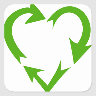 Green Recycle Heart Sticker