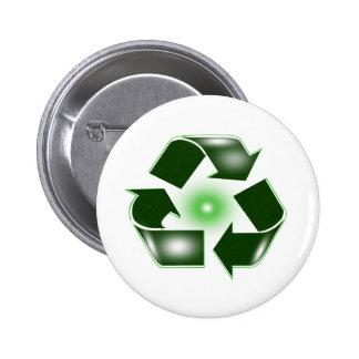 Green Recycle Logo Button