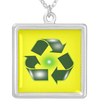 Green Recycle Logo Necklace