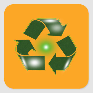 Green Recycle Logo Square Sticker Sticker