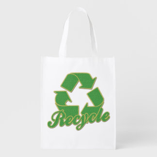 Green Recycle Logo Reusable Grocery Bags