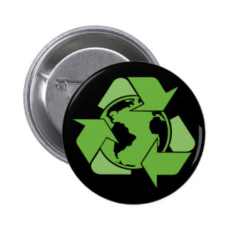 Green Recycle Recycling dark 6 Cm Round Badge