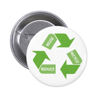 Green Recycle Reuse Reduce Pinback Buttons