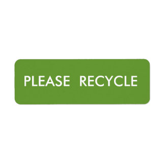Green Recycle  Simple Warning  Shipping Return Address Label