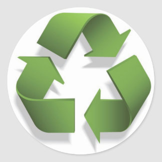 green recycle symbol classic round sticker