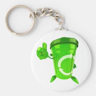 Green Recycling Bin Keychain