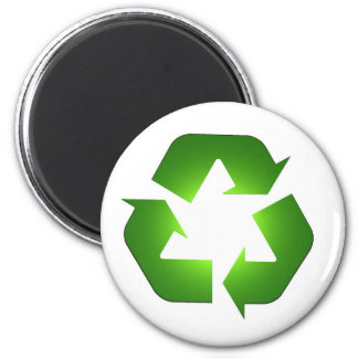 Green recycling icon in 3D 6 Cm Round Magnet
