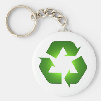Green recycling icon in 3D Basic Round Button Key Ring