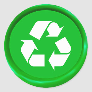 Green Recycling Sign Wax Seal Round Sticker