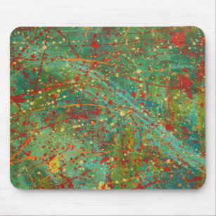 Green Red abstract art design Pollock dripping Mouse Pad