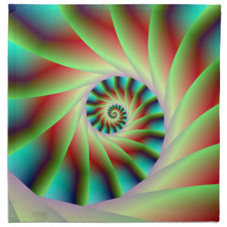 Green Red and Blue Spiral Steps Napkin