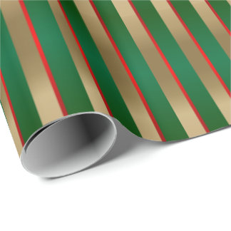 Green, Red and Gold Christmas Stripes Wrapping Paper