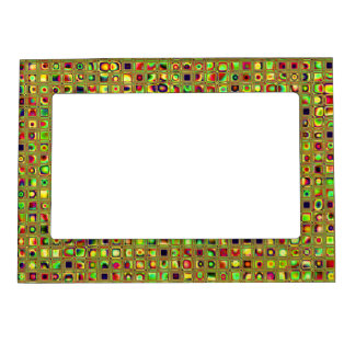 Green, Red And Gold Mosaic Textured Tiles Pattern Picture Frame Magnets