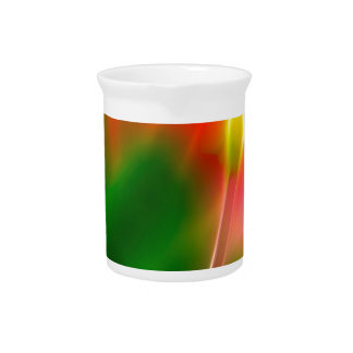 Green, Red and Yellow Tulip Glow Beverage Pitcher