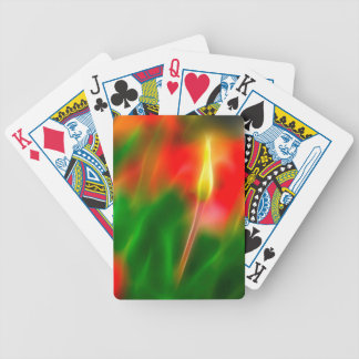 Green, Red and Yellow Tulip Glow Bicycle Playing Cards