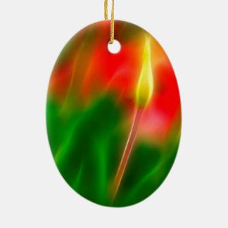 Green, Red and Yellow Tulip Glow Ceramic Ornament