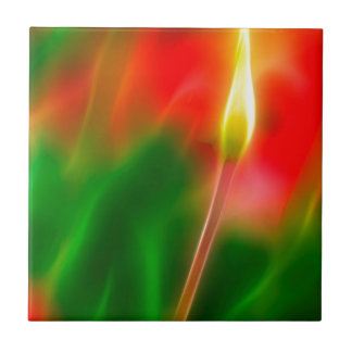 Green, Red and Yellow Tulip Glow Ceramic Tile