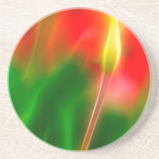 Green, Red and Yellow Tulip Glow Coaster