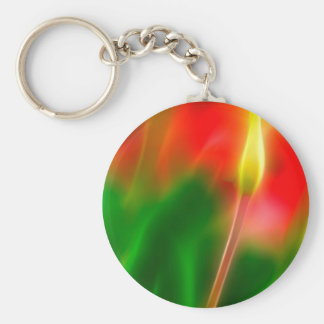 Green, Red and Yellow Tulip Glow Key Ring