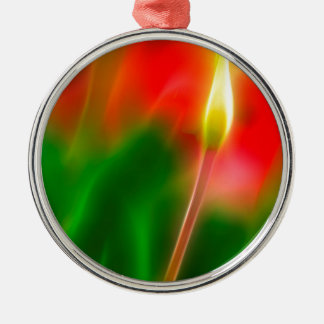 Green, Red and Yellow Tulip Glow Metal Ornament
