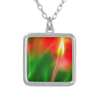 Green, Red and Yellow Tulip Glow Silver Plated Necklace