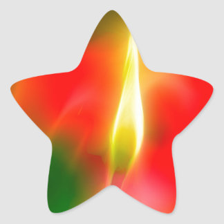 Green, Red and Yellow Tulip Glow Star Sticker