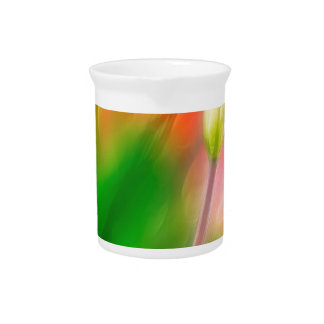 Green Red and Yellow Tulip Sketch Beverage Pitcher