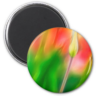 Green Red and Yellow Tulip Sketch Magnet