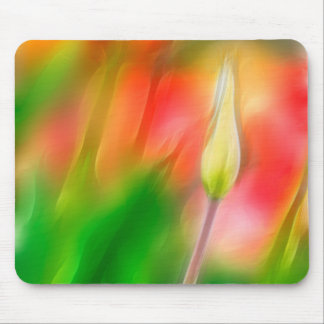 Green Red and Yellow Tulip Sketch Mouse Pad