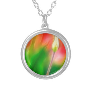 Green Red and Yellow Tulip Sketch Silver Plated Necklace