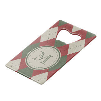 Green & Red Argyle Plaid Pattern with Monogram