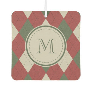 Green & Red Argyle Plaid Pattern with Monogram Car Air Freshener