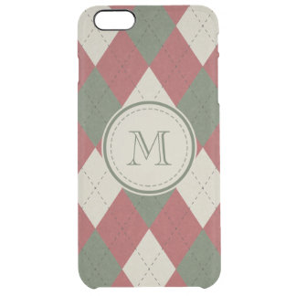Green & Red Argyle Plaid Pattern with Monogram Clear iPhone 6 Plus Case