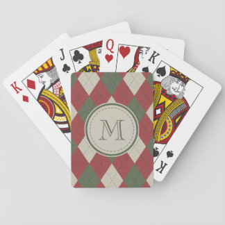 Green & Red Argyle Plaid Pattern with Monogram Poker Deck