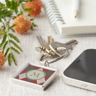 Green & Red Argyle Plaid Pattern with Monogram Silver-Colored Square Key Ring