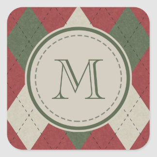 Green & Red Argyle Plaid Pattern with Monogram Square Sticker